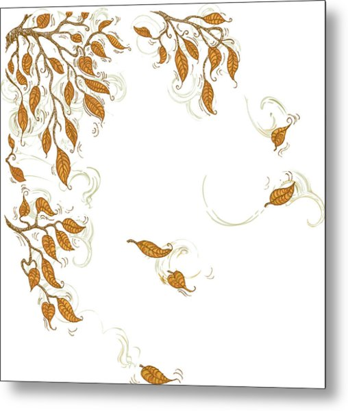 Doodle Autumn Leaves Corner Element Metal Print by Dddb