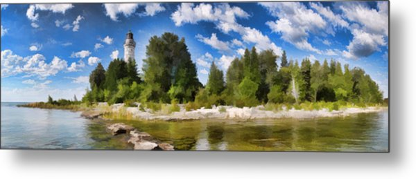 Door County Cana Island Lighthouse Panorama Metal Print