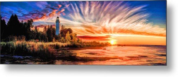 Door County Cana Island Lighthouse Sunrise Panorama Metal Print