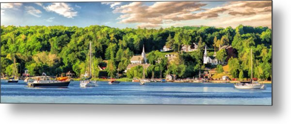 Door County Ephraim Harbor Sunset  Panorama Metal Print