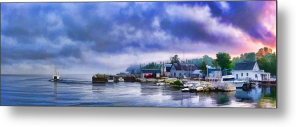 Door County Gills Rock Morning Catch Panorama Metal Print