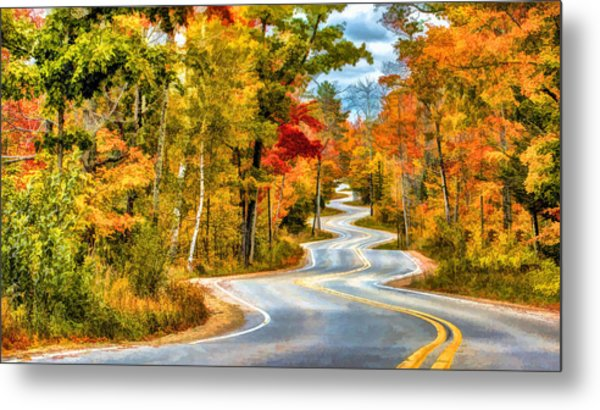 Door County Road To Northport In Autumn Metal Print