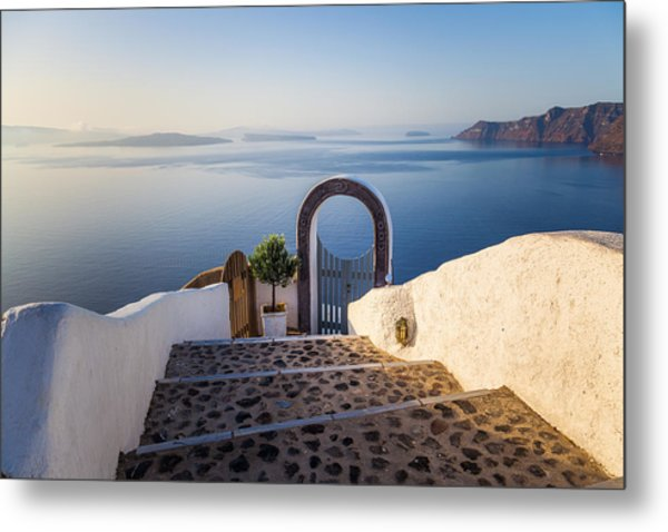 Doorway In Santorini Metal Print