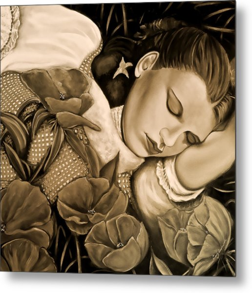 Dorothy's Sleep Sepia Metal Print