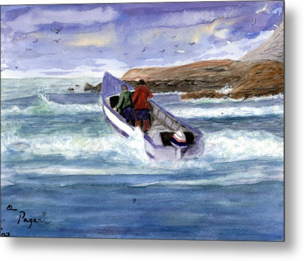 Dory Boat Heading To Sea Metal Print