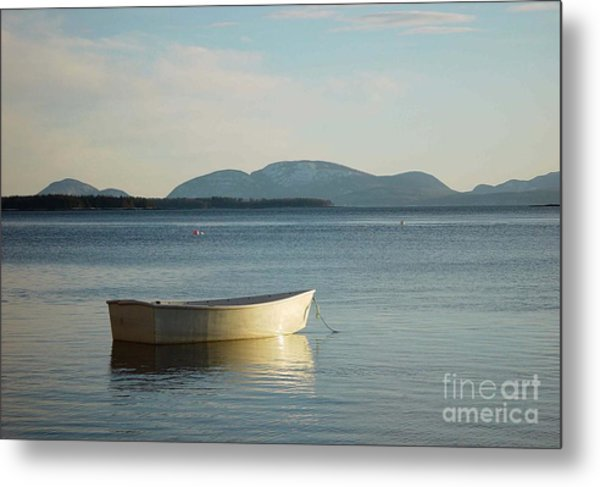 Dory In Harbor Metal Print