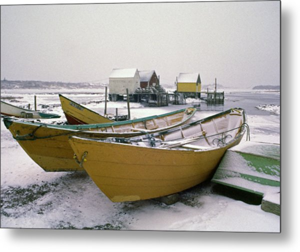 Dorys In Winter At Blue Rocks Nova Scotia Metal Print