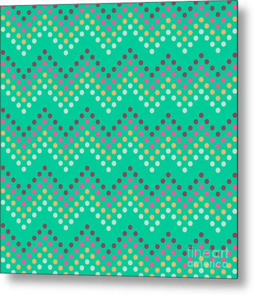 Dotted Lines Zigzag Pattern With Metal Print by Hakki Arslan