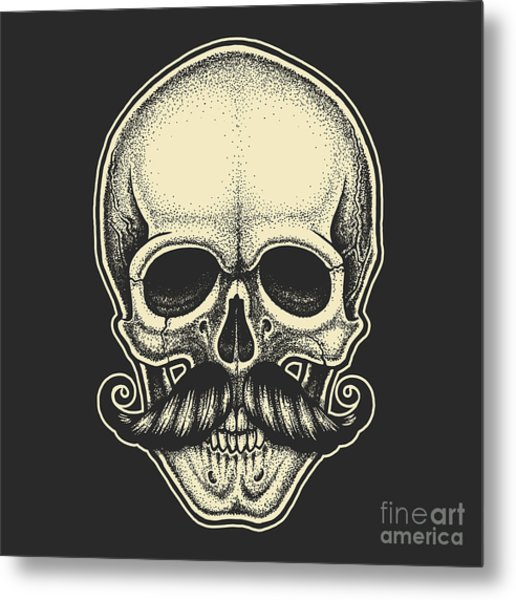 Dotwork Styled Skull With Moustache Metal Print