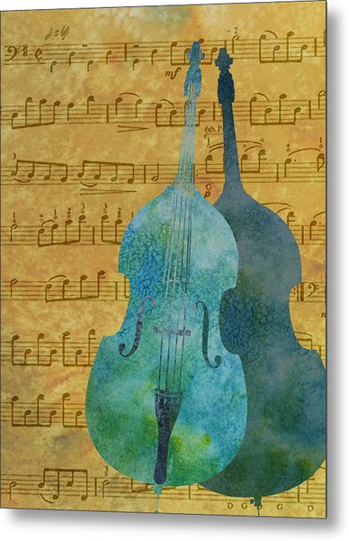 Double Bass Score Metal Print