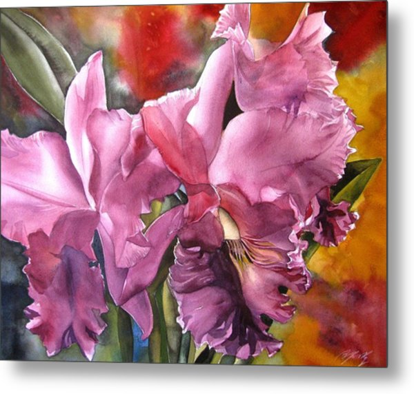 Double Cattleya Orchid Metal Print