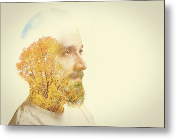 Double Exposure Man With Beard And Fall Metal Print by Sdominick