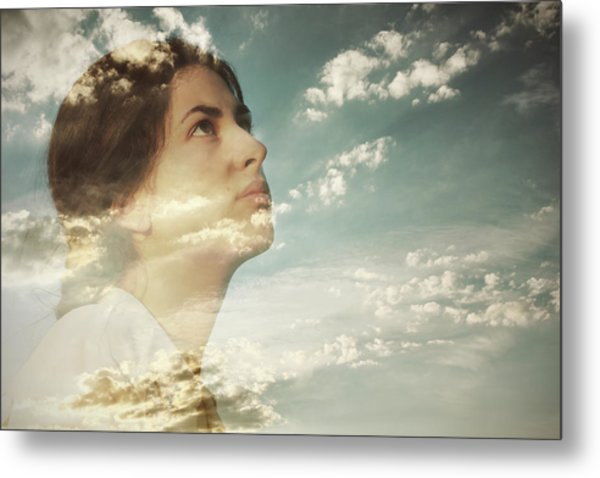 Double Exposure Of A Young Woman And Metal Print by Owl Stories