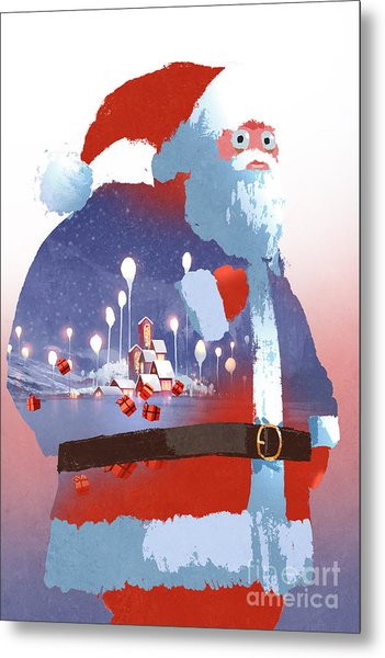 Double Exposure Of Santa Claus And Metal Print