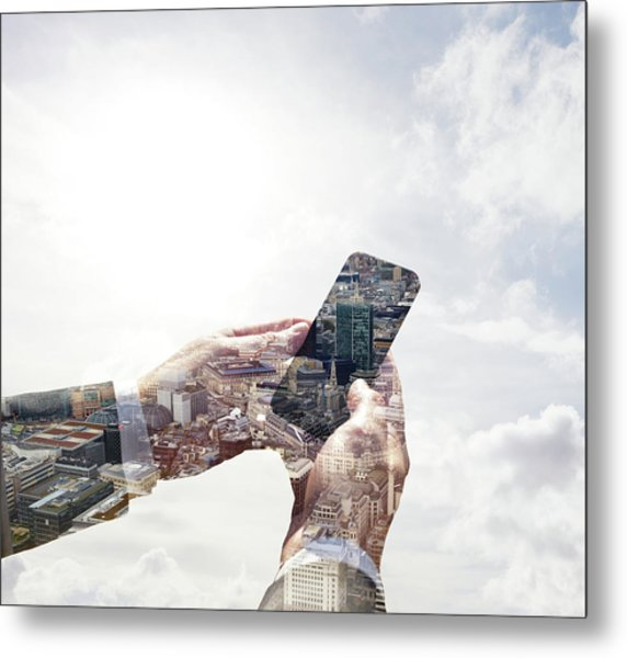 Double Exposure Of Smart Phone And Metal Print by Tim Robberts