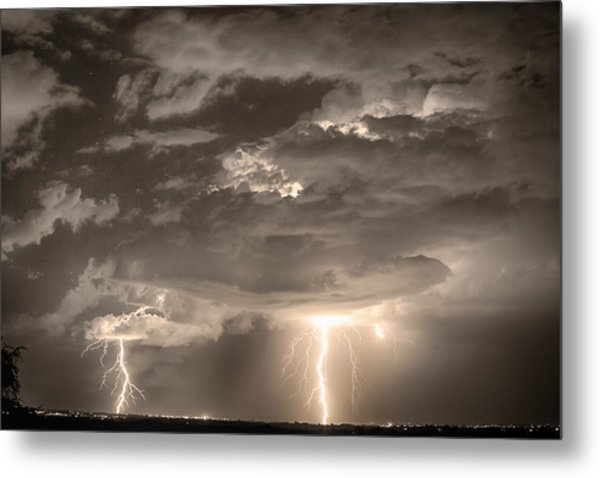 Double Lightning Strikes In Sepia Hdr Metal Print