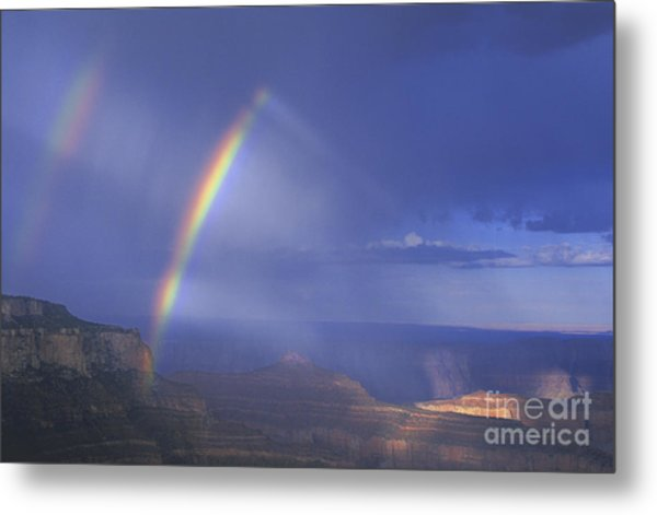 Metal Print featuring the photograph Double Rainbow At Cape Royal Grand Canyon National Park by Dave Welling