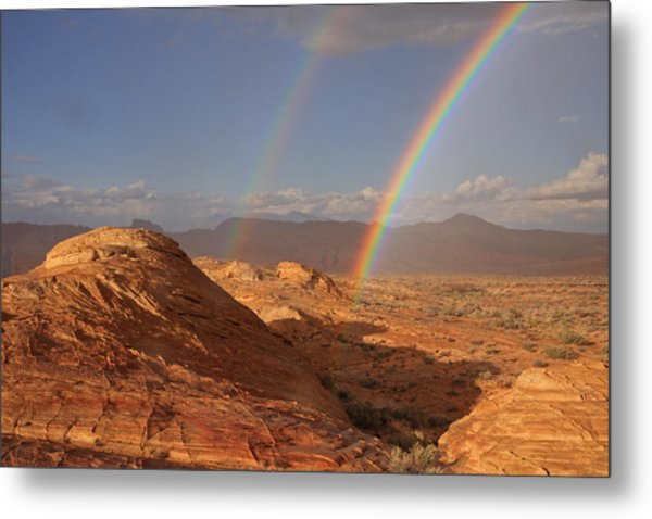 Double Rainbow At The Valley Of Fire Metal Print