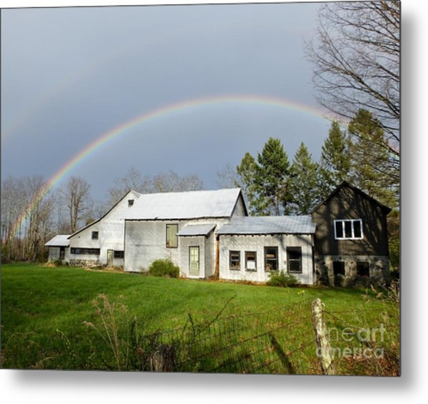 Metal Print featuring the photograph Double Rainbow Over Barn by Kristen Fox