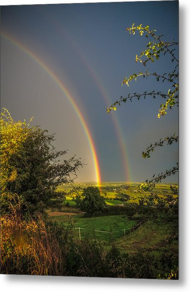 Double Rainbow Over County Clare Metal Print