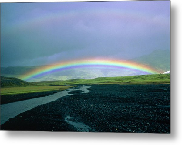 Double Rainbow Over Iceland Metal Print by Simon Fraser/science Photo Library
