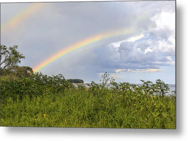 Double Rainbow Sheffield Island Metal Print