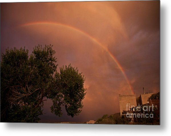 Double Red Rainbow With Tree In Jerome Metal Print