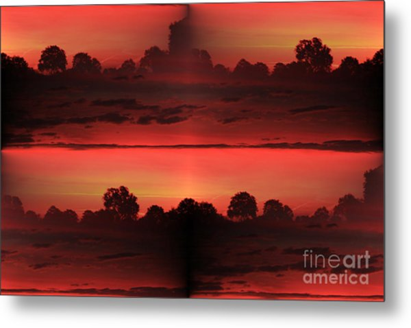 Double Red Sunrise Metal Print
