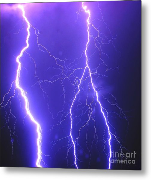 Double Triple Blue Lightning Metal Print