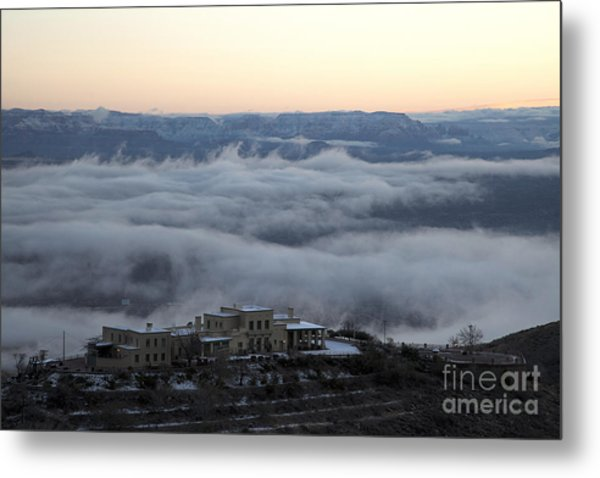 Douglas Mansion Above The Clouds Hovering Over The Verde Valley From Jerome Arizona Metal Print