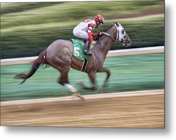Down The Stretch - Horse Racing - Jockey Metal Print