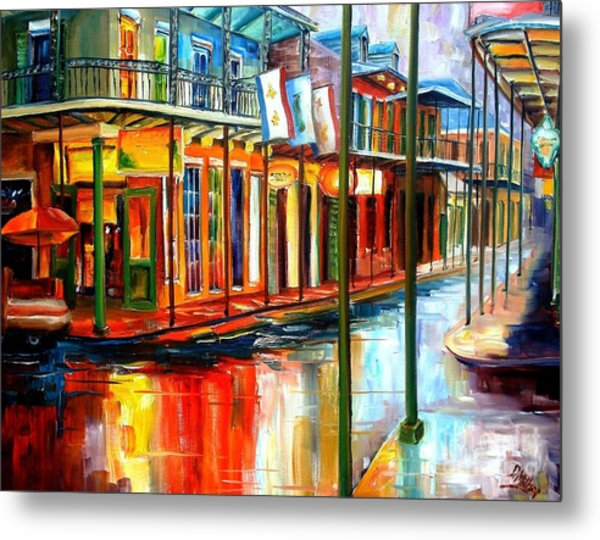 Downpour On Bourbon Street Metal Print