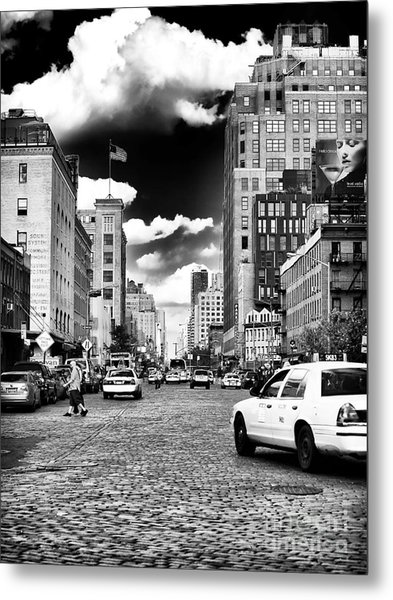 Downtown Cab Ride Metal Print by John Rizzuto