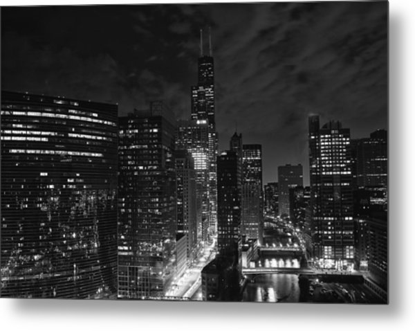 Downtown Chicago At Night Metal Print