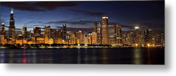 Downtown Chicago Panorama Metal Print by Andrew Soundarajan