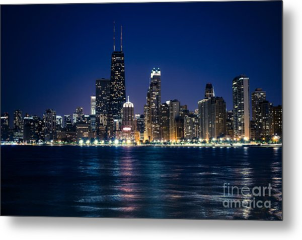 Downtown City Of Chicago At Night Metal Print by Paul Velgos