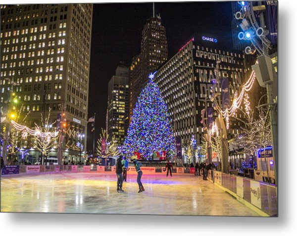 Downtown Detroit Ice Rink  Metal Print
