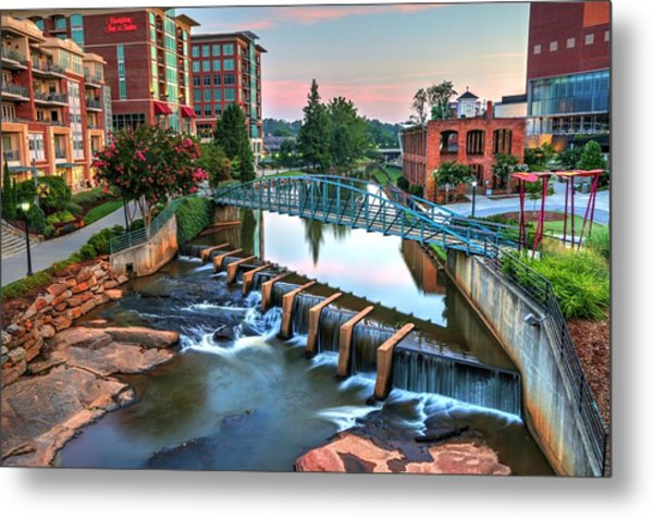 Downtown Greenville On The River Metal Print