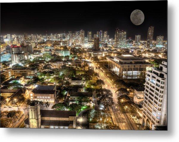 Downtown Honolulu Moonrise Metal Print