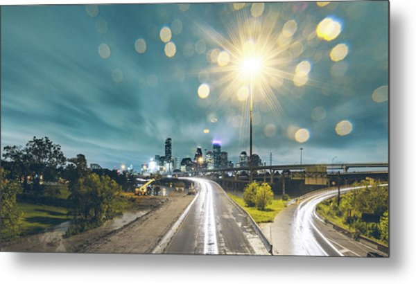 Downtown Houston Flooding At Night Metal Print by Onest Mistic