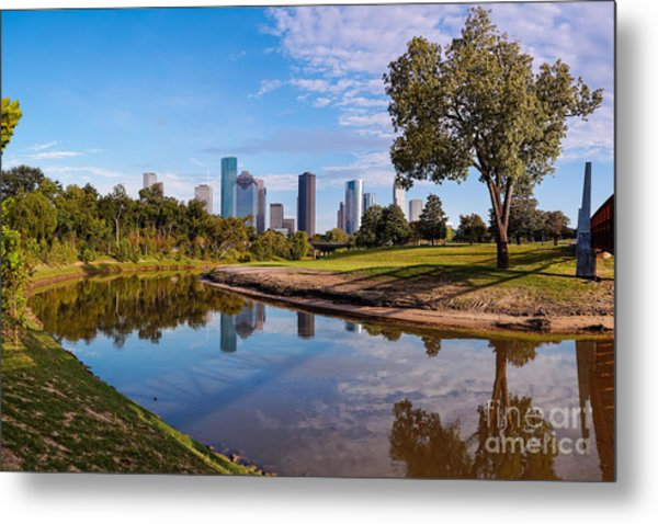 Downtown Houston Panorama From Buffalo Bayou Park Metal Print