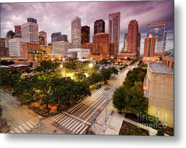 Downtown Houston Skyline During Twilight Metal Print