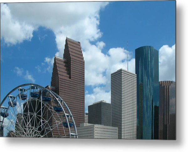 Downtown Houston With Ferris Wheel Metal Print