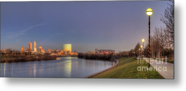 Downtown Indianapolis From White River Metal Print