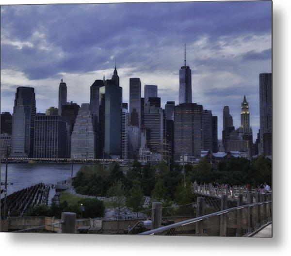 Downtown Manhattan From Brooklyn Bridge Park Metal Print by E Osmanoglu