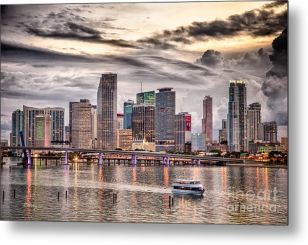 Downtown Miami Skyline In Hdr Metal Print