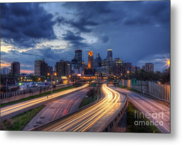 Downtown Minneapolis Skyline On 35 W Sunset Metal Print