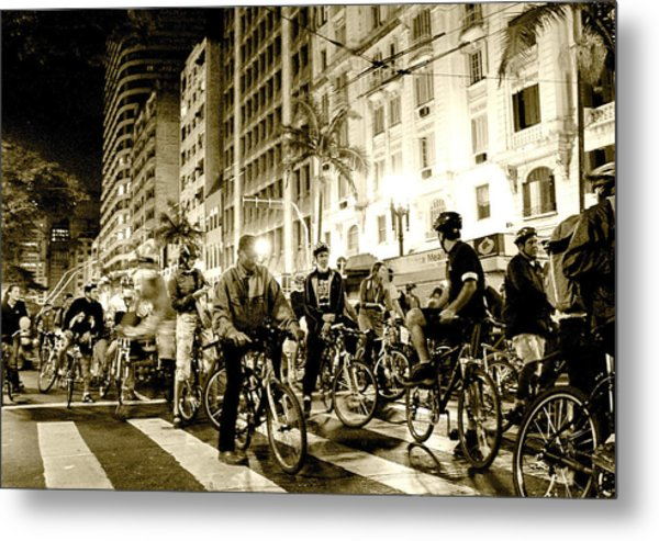 Downtown Night Bikers Metal Print