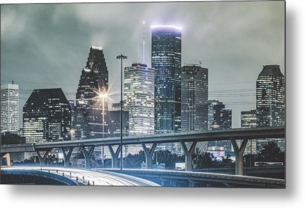 Downtown Of Houston In The Rain At Night Metal Print by Onest Mistic