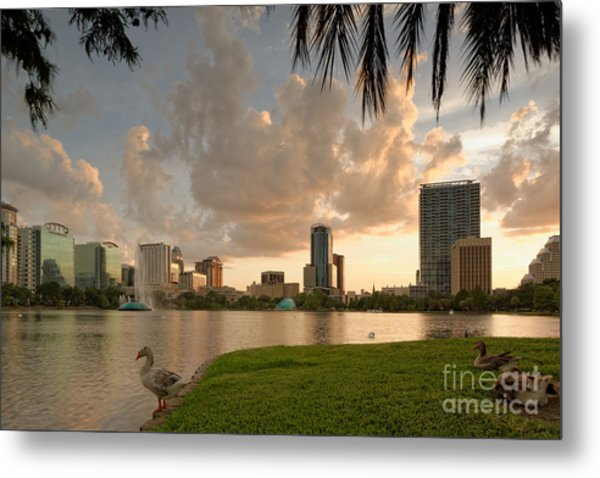 Downtown Orlando Skyline Lake Eola Sunset Metal Print